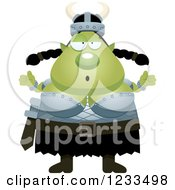 Clipart Of A Careless Shrugging Female Orc Royalty Free Vector Illustration