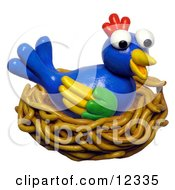 Clay Sculpture Clipart Bird Nesting Royalty Free 3d Illustration by Amy Vangsgard