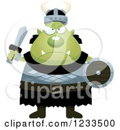 Clipart Of A Mad Male Orc Ready For Battle Royalty Free Vector Illustration by Cory Thoman