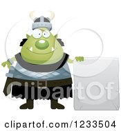 Clipart Of A Happy Male Orc With A Stone Sign Royalty Free Vector Illustration by Cory Thoman