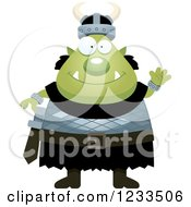 Clipart Of A Friendly Waving Male Orc Royalty Free Vector Illustration by Cory Thoman