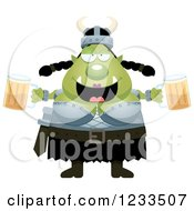 Clipart Of A Drunk Female Orc Holding Beers Royalty Free Vector Illustration by Cory Thoman