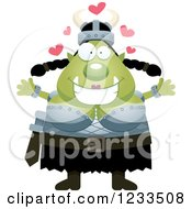Clipart Of A Female Orc With Open Arms And Hearts Royalty Free Vector Illustration by Cory Thoman