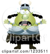 Clipart Of A Scared Screaming Female Orc Royalty Free Vector Illustration by Cory Thoman