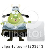 Clipart Of A Happy Female Orc With A Stone Sign Royalty Free Vector Illustration by Cory Thoman