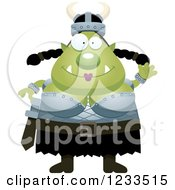 Clipart Of A Friendly Waving Female Orc Royalty Free Vector Illustration by Cory Thoman