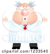 Clipart Of A Careless Shrugging Male Scientist Royalty Free Vector Illustration
