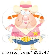 Clipart Of A Friendly Waving Sheriff Cowgirl Royalty Free Vector Illustration by Cory Thoman