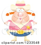 Clipart Of A Happy Sheriff Cowgirl Royalty Free Vector Illustration