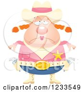 Clipart Of A Depressed Sheriff Cowgirl Royalty Free Vector Illustration by Cory Thoman
