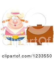 Clipart Of A Happy Sheriff Cowgirl With A Wood Sign Royalty Free Vector Illustration