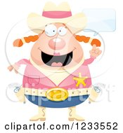 Clipart Of A Happy Talking Sheriff Cowgirl Royalty Free Vector Illustration by Cory Thoman