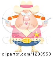 Clipart Of A Mad Sheriff Cowgirl With Pistols Royalty Free Vector Illustration