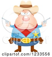 Clipart Of A Mad Sheriff Cowboy With Pistols Royalty Free Vector Illustration by Cory Thoman