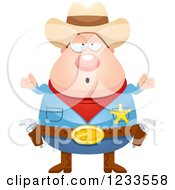 Clipart Of A Careless Shrugging Sheriff Cowboy Royalty Free Vector Illustration