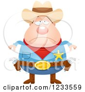 Clipart Of A Depressed Sheriff Cowboy Royalty Free Vector Illustration