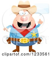 Clipart Of A Happy Talking Sheriff Cowboy Royalty Free Vector Illustration