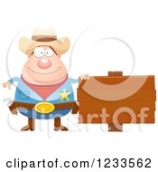 Clipart Of A Happy Sheriff Cowboy With A Wood Sign Royalty Free Vector Illustration