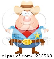 Clipart Of A Happy Sheriff Cowboy Royalty Free Vector Illustration
