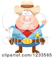 Clipart Of A Friendly Waving Sheriff Cowboy Royalty Free Vector Illustration