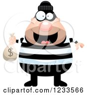Clipart Of A Happy Robber Burglar Guy With A Money Sack Royalty Free Vector Illustration