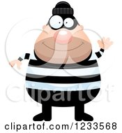 Clipart Of A Friendly Waving Robber Burglar Guy Royalty Free Vector Illustration by Cory Thoman