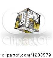 3d Floating Video Games Word Collage Box Cube On White
