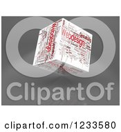 Clipart Of A 3d Floating Web Design Word Collage Box Cube On White Royalty Free CGI Illustration by MacX