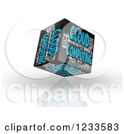 3d Floating Cloud Computing Word Collage Box Cube On White