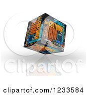 3d Floating CRM Word Collage Box Cube On White