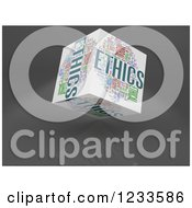 3d Floating Ethics Word Collage Box Cube On White