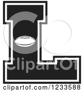 Clipart Of A Black And White Football Letter L Royalty Free Vector Illustration by Johnny Sajem