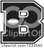 Clipart Of A Black And White Football Letter B Royalty Free Vector Illustration by Johnny Sajem