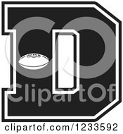 Clipart Of A Black And White Football Letter D Royalty Free Vector Illustration by Johnny Sajem