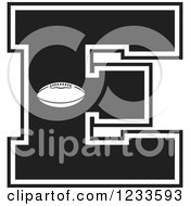 Clipart Of A Black And White Football Letter E Royalty Free Vector Illustration by Johnny Sajem