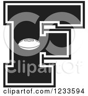 Clipart Of A Black And White Football Letter F Royalty Free Vector Illustration