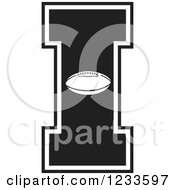 Clipart Of A Black And White Football Letter I Royalty Free Vector Illustration by Johnny Sajem