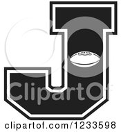 Clipart Of A Black And White Football Letter J Royalty Free Vector Illustration by Johnny Sajem