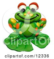 Clay Sculpture Clipart Spotted Frog On A Lily Pad Royalty Free 3d Illustration by Amy Vangsgard
