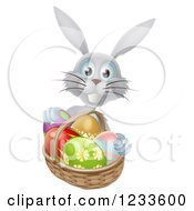 Clipart Of A Gray Bunny With Easter Eggs And A Basket Royalty Free Vector Illustration by AtStockIllustration