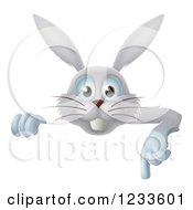 Clipart Of A Happy Gray Bunny Rabbit Pointing Down Over A Sign Royalty Free Vector Illustration