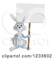 Gray Rabbit Holding A Sign