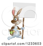Happy Brown Bunny Rabbit With A Carrot Holding A Blank Sign