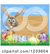 Brown Bunny Rabbit With A Basket And Easter Eggs By A Wooden Sign Under A Blue Sky