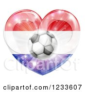 Clipart Of A Reflective Netherlands Flag Heart And Soccer Ball Royalty Free Vector Illustration
