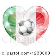 Clipart Of A Reflective Italian Flag Heart And Soccer Ball Royalty Free Vector Illustration