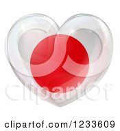 Clipart Of A 3d Reflective Japanese Flag Heart Royalty Free Vector Illustration