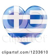 Clipart Of A 3d Reflective Greek Flag Heart Royalty Free Vector Illustration