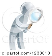 Clipart Of A 3d Silver Man Searching With A Magnifying Glass Royalty Free Vector Illustration