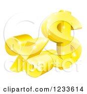 3d Golden Percent And Dollar Symbol